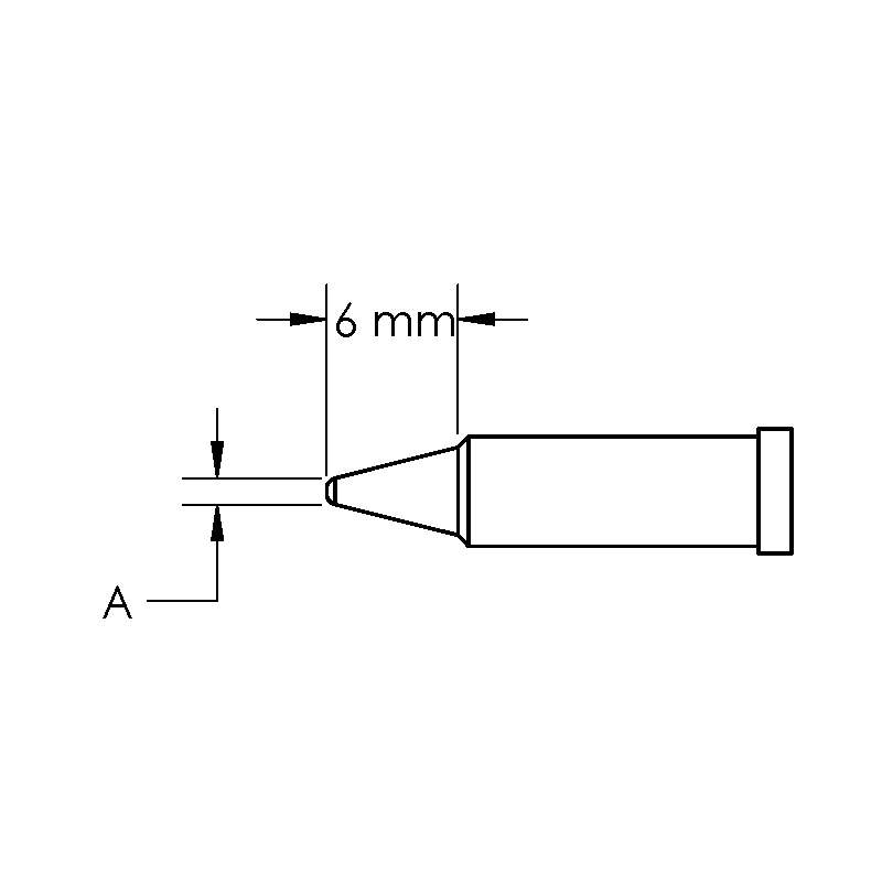 GT Solder Tip, T4, Conical, Power, (Ø X L) 0.5 x 6mm