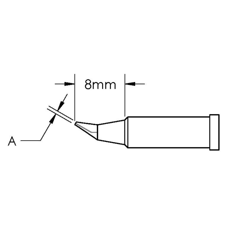 GT Solder Tip, T4, Conical, Bent, (Ø X L) 0.4 x 8mm