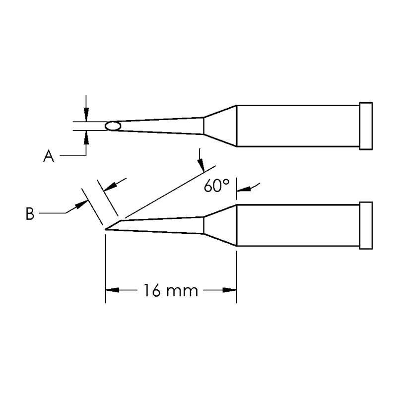 GT Solder Tip, T4, Hoof,  (Bevel/L) 60° x 3.3, (Ø X L) 1.5 x 16mm