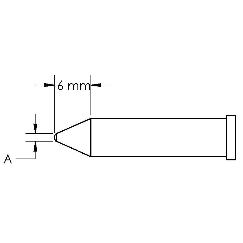 GT Solder Tip, T6, Conical, Power, (Ø X L) 1 x 6mm