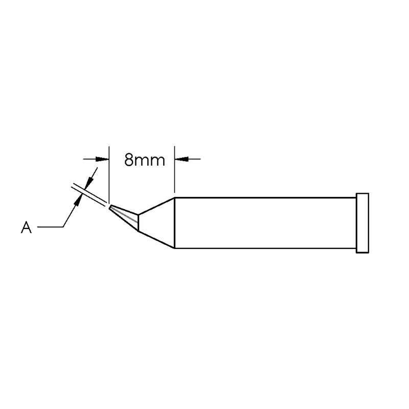 GT Solder Tip, T6, Conical, Bent, (Ø X L) 0.2 x 8mm