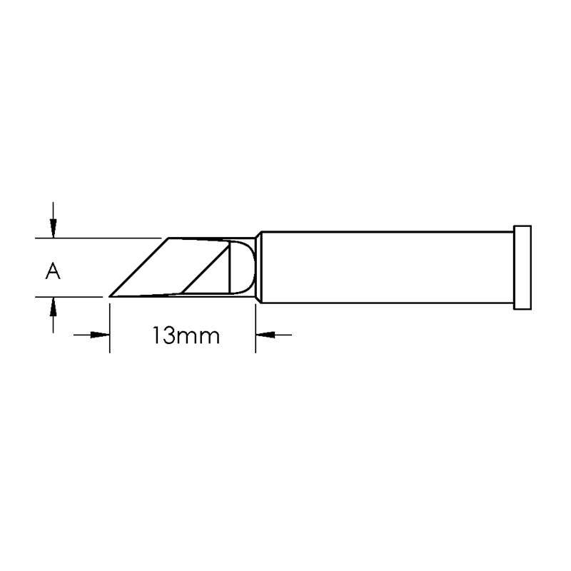 GT Solder Tip, Knife, Power, (W X L) 5 x 13mm, 45°