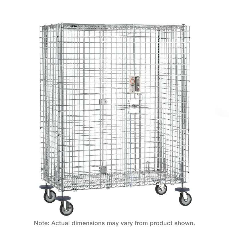 """qwikSLOT Mobile Security Shelving Unit with Electronic PIN Lock, Chrome, 21.5x52.75x67.9375"""""""