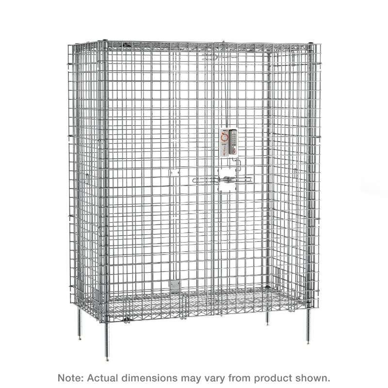 """Super Erecta Stationary Security Shelving Unit with Electronic PIN Lock, Chrome, 27.25x38.5x66.8125"""""""