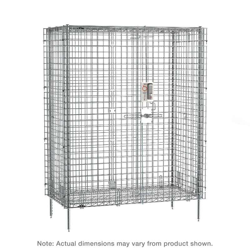 """qwikSLOT Stationary Security Shelving Unit with Electronic PIN Lock, Chrome, 27.25x38.5x66.8125"""""""