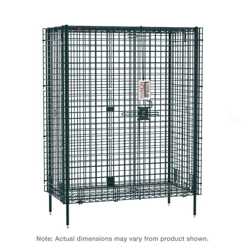 """Super Erecta Stationary Security Shelving Unit with Electronic PIN Lock, seal Green Epoxy, 27.25x38.5x66.8125"""""""