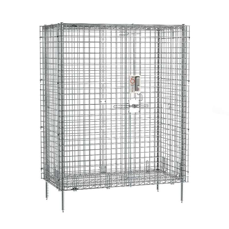 qwikSLOT Stationary Security Shelving Unit with Electronic PIN Lock, Chrome, 27.25x50.5x66.8125""