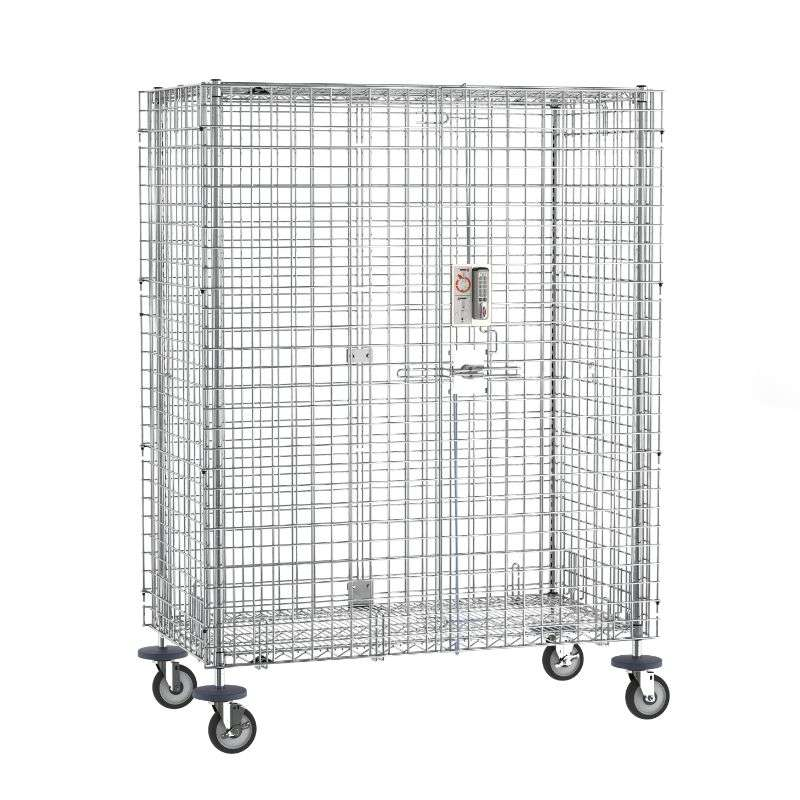 """qwikSLOT Mobile Security Shelving Unit with Electronic PIN Lock, Chrome, 27.25x52.75x67.9375"""""""