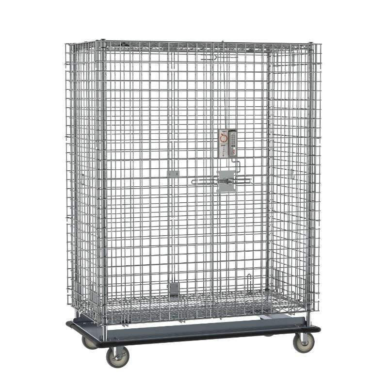 """Super Erecta Heavy-Duty Mobile Security Shelving Unit with Electronic PIN Lock, Chrome, 28.0625x50.5x68.4375"""""""