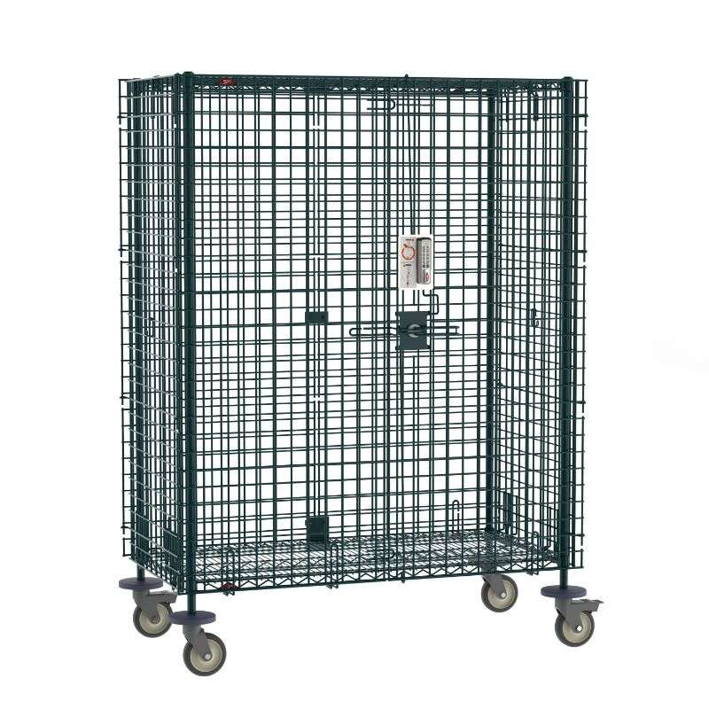 Super Erecta Mobile Security Shelving Unit with Electronic PIN Lock, seal Green Epoxy, 27.25x52.75x68.4375""