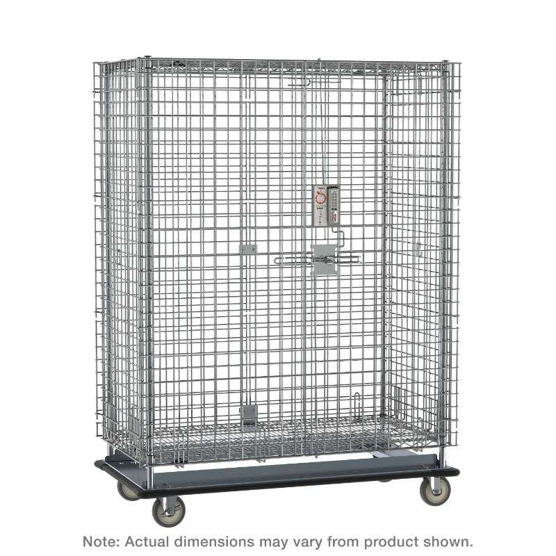 """Super Erecta Heavy-Duty Mobile Security Shelving Unit with Electronic PIN Lock, Chrome, 28.0625x63.125x68.4375"""""""