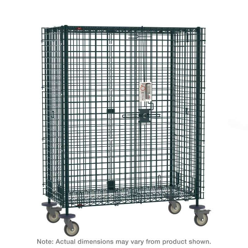 """Super Erecta Mobile Security Shelving Unit with Electronic PIN Lock, seal Green Epoxy, 27.25x65x68.4375"""""""