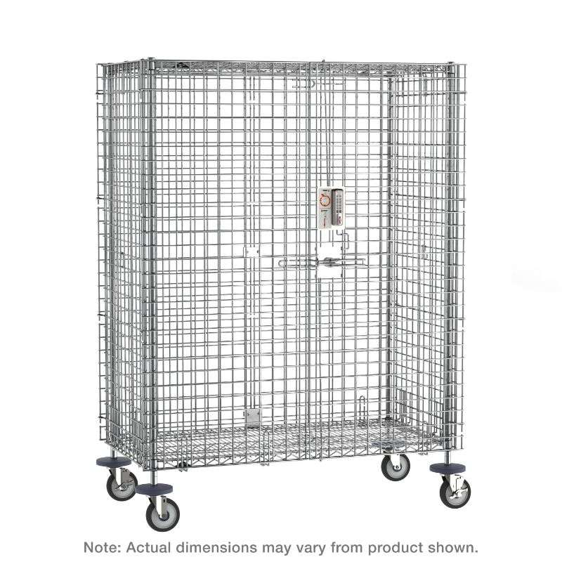 """Super Erecta Mobile Security Shelving Unit with Electronic PIN Lock, Chrome, 33.5x52.75x67.9375"""""""