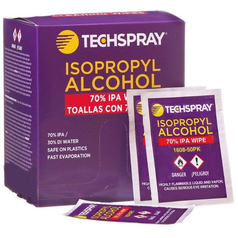 """Isopropyl Alcohol Wipes 70%, 5-1/4 x 5-1/2"""", 50 per Pack"""