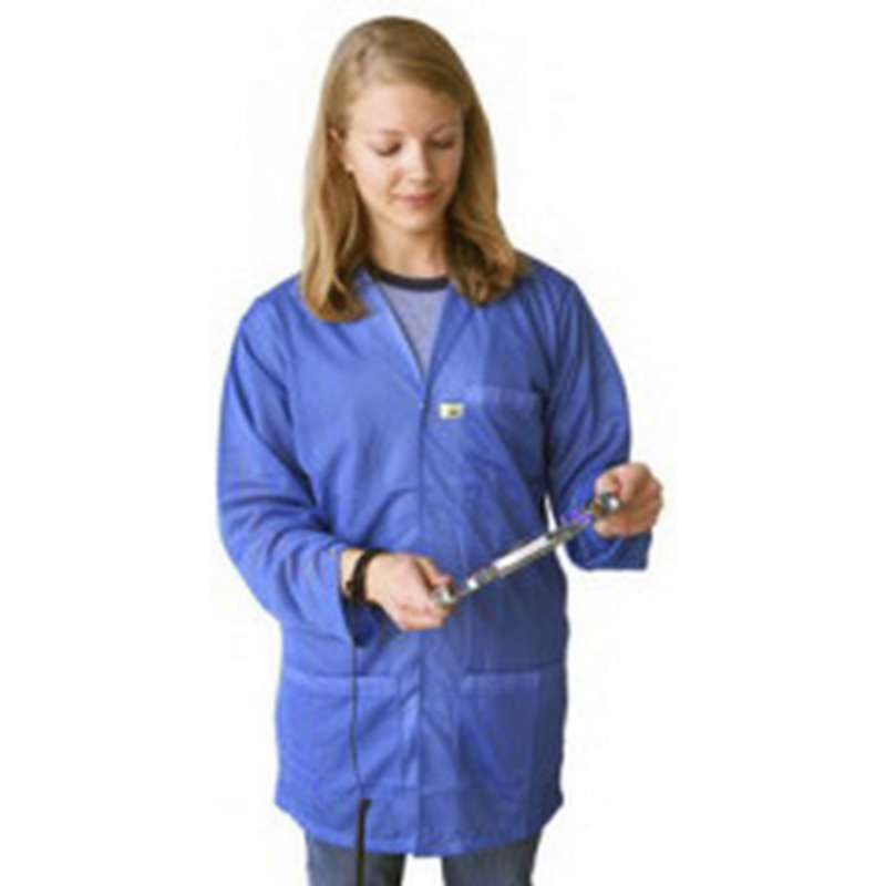 "ESD-Safe Lightweight 3/4 Length Lab Coat with Snap Cuffs and Three Pockets, Blue, Medium, 30"" Long"