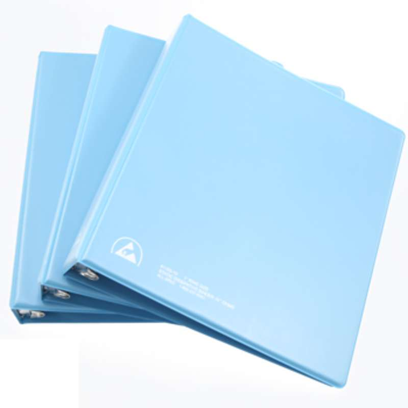 "ESD-Safe 3-Ring Binder, 1"" Rings, and Clear View Dissipative Outside Pocket, Blue"