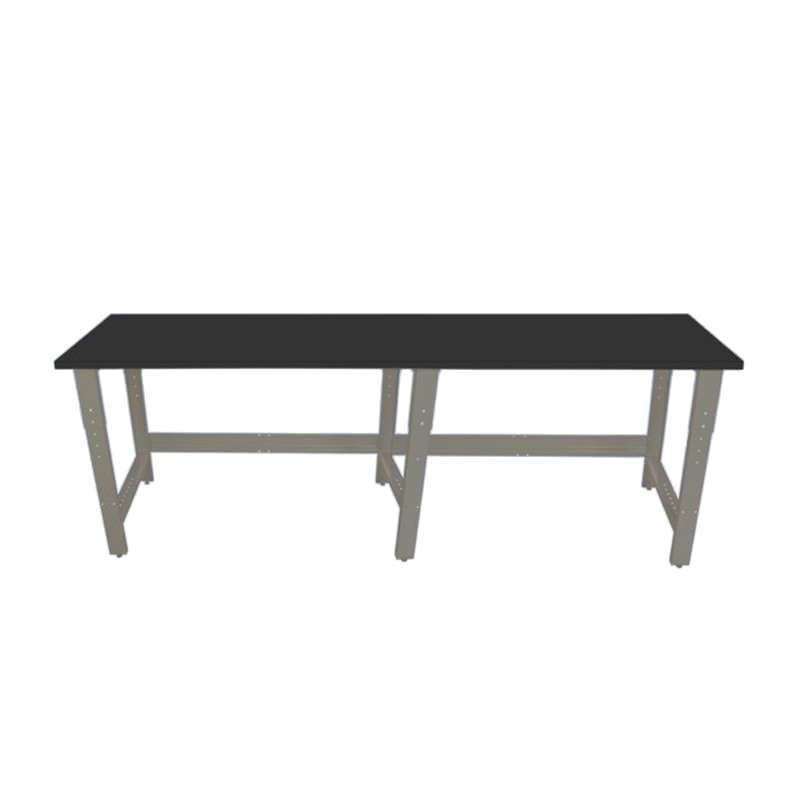 """Adjustable Height Chemical Resistant Phenolic Resin Top Workbench with 1000 lb Weight Capacity, Square Edges and Glides, Black, 30 x 48"""""""