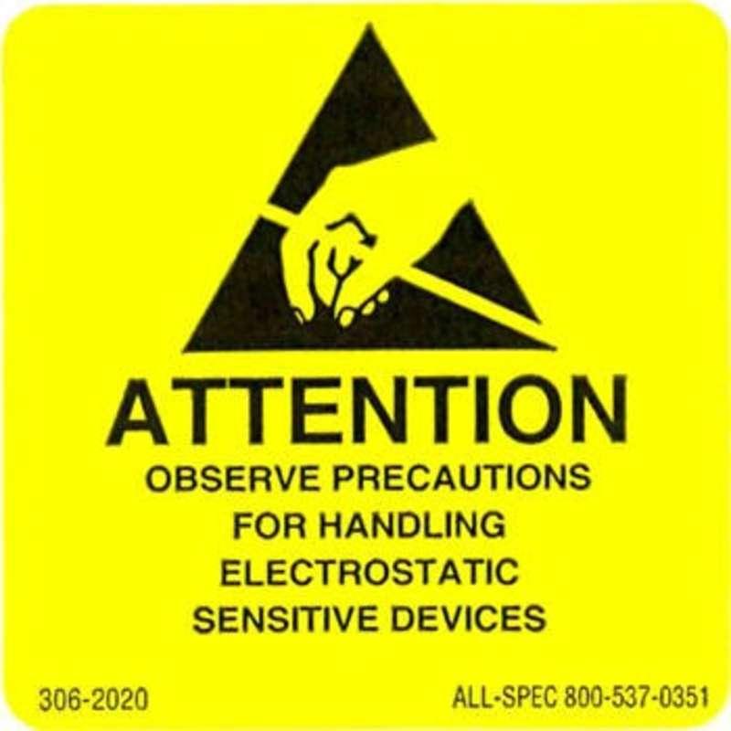 "Label, Yellow/Black 2"" x 2"" 1000/Roll ""Attention Observe Precautions"""