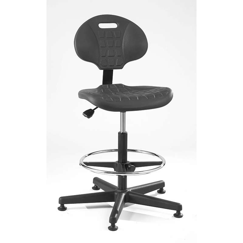 Everlast Tall Height Black Polyurethane Chair, Articulating Seat & Back Tilt, Black Nylon Base with Adjustable Footring