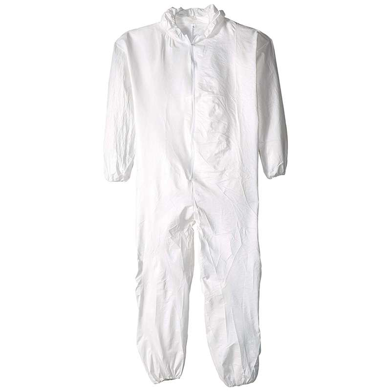 TY127S Series Coverall with Attached Hood, Zip Front and Elastic Wrists and Ankles, White, 5X, 25 per Case