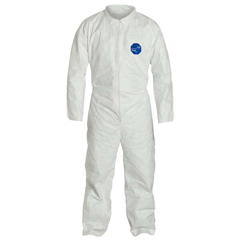 TY120S Series Coverall with Zipper Front with Open Wrists and Ankles, White, Large, 25 per Case