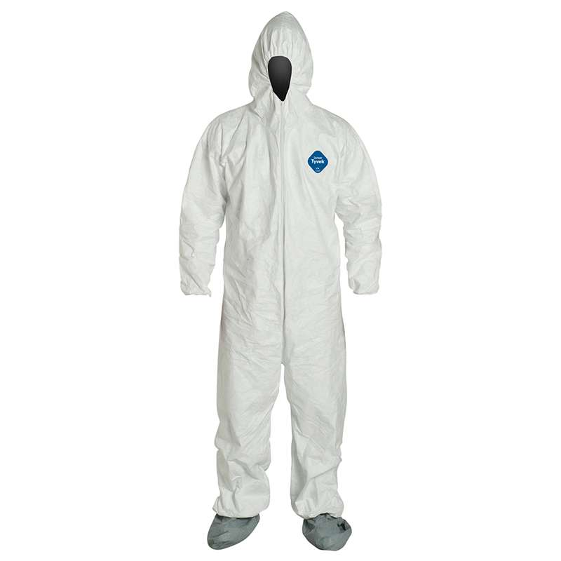 TY122S Series Coverall with Attached Hood, Antiskid Boots and Zip Front, White, 4XL, 25 per Case