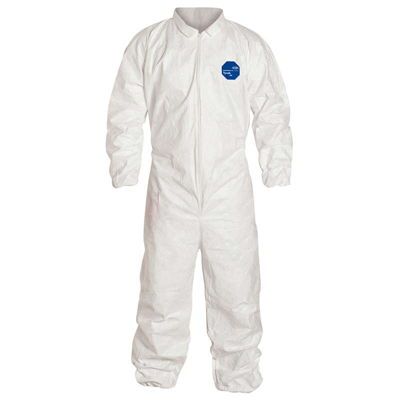 TY125S Series Coverall with Zipper Front and Elastic Wrists and Ankles, White, 5XL, 25 per Case