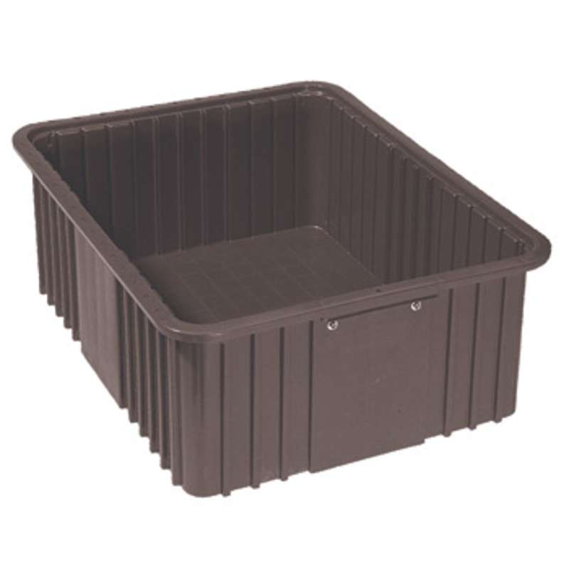 Lewis™ 3000 ESD-Safe ESD Conductive Divider Totes Box, 22.4 in x 17.4 in x 8 in, Black, 4 Each per Case