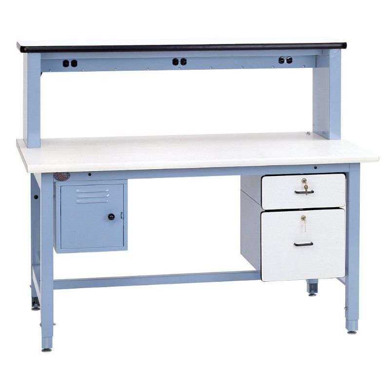 """Technical Bench in a Box Kit Quick Ship ESD-Safe with Light Blue Frame, 30""""H x 30""""D x 60""""L"""