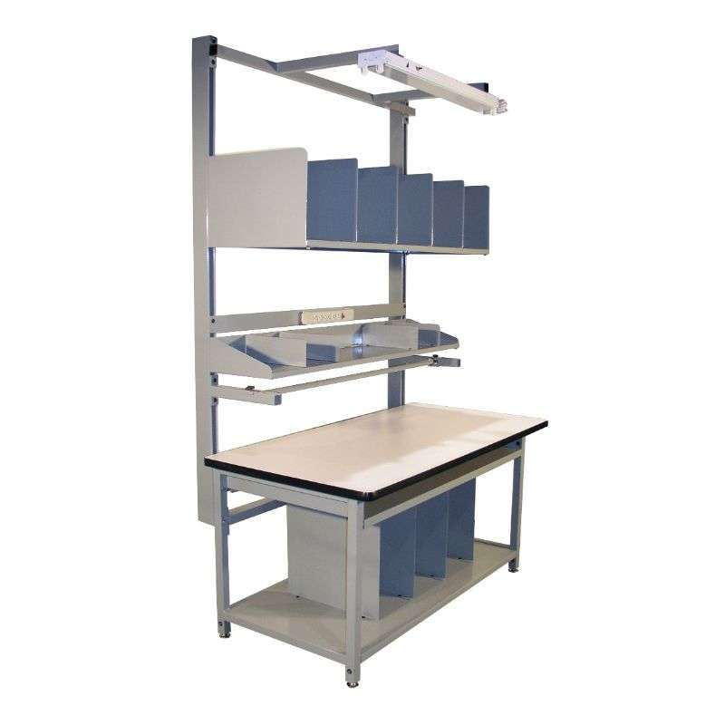 """Packaging Bench in a Box Kit Quick Ship ESD-Safe with Grey Frame, 96""""H x 30""""D x 60""""L"""