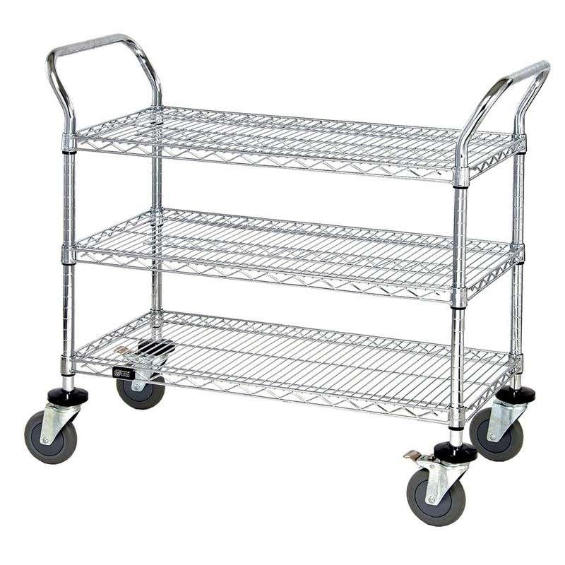 "Wire Utility Cart, 3 Wire Shelves, Chrome, 24""W x 36""L x 37-1/2""H"