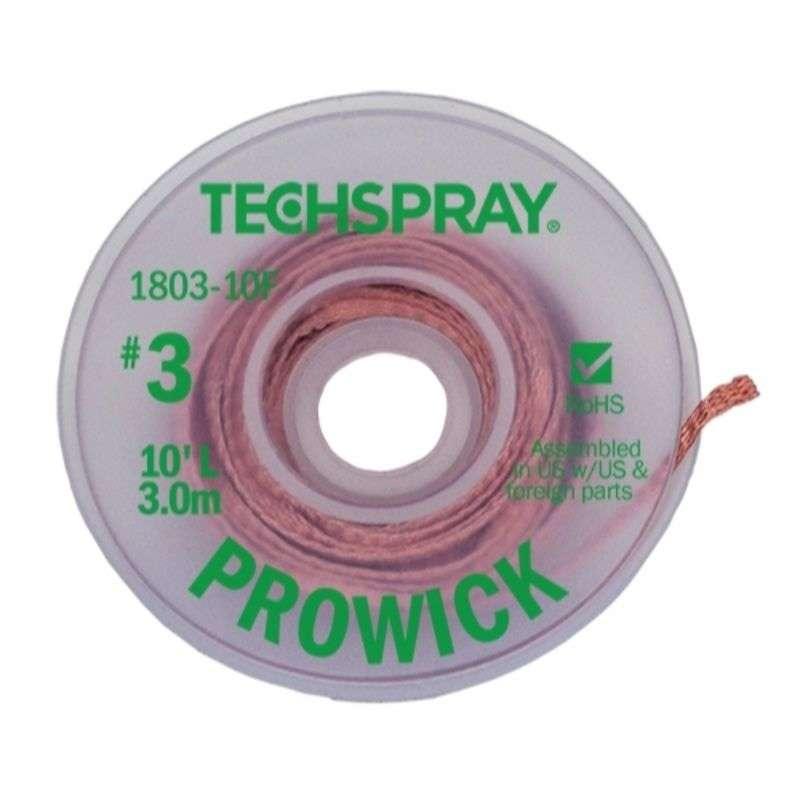 "ProWick® Rosin Desoldering Braid, .075"", 10' Green Standard Spool"