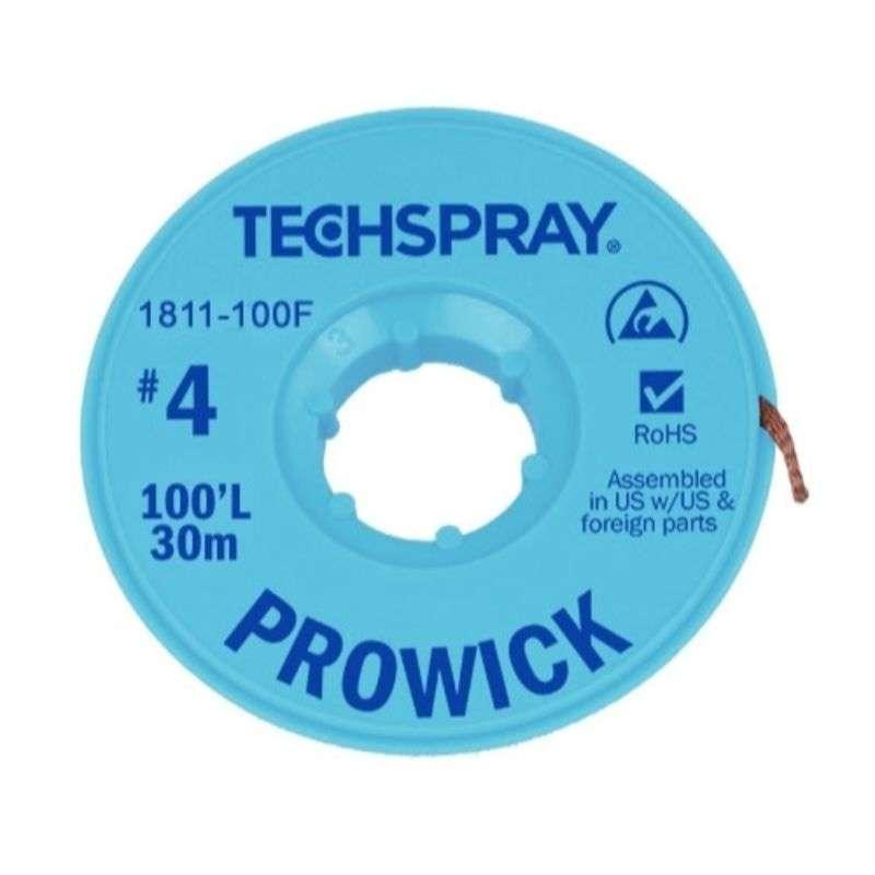 "ProWick® Rosin Desoldering Braid, .098"", 100' Blue ESD Spool"