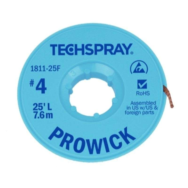 "ProWick® Rosin Desoldering Braid, .098"", 25' Blue ESD Spool"