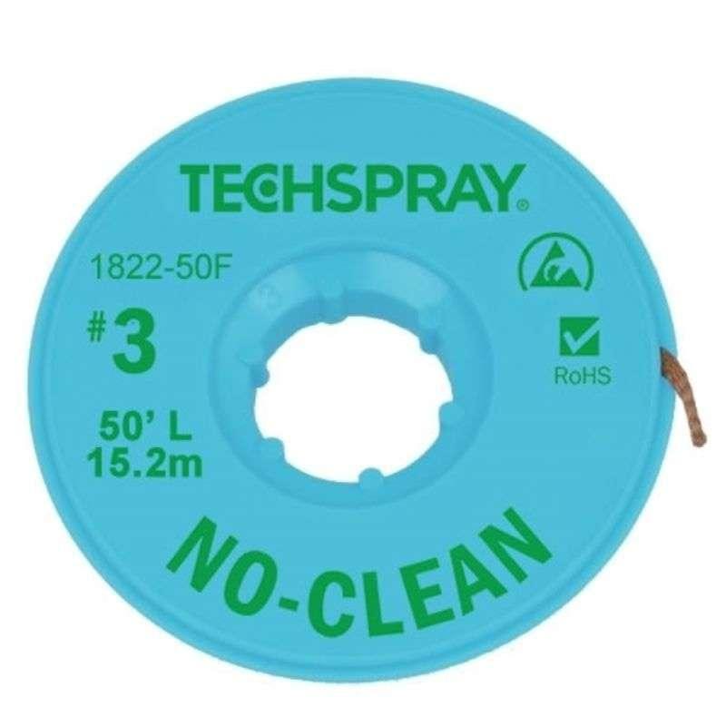 "No-Clean Desoldering Braid, .075"", 50' Green ESD Spool"