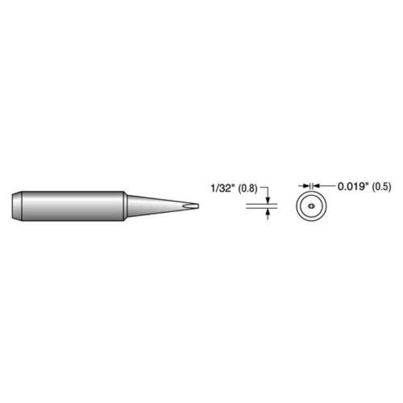 """HS Series Screwdriver Solder Tip, Alternate for 900M-T-0.8D, .031"""""""