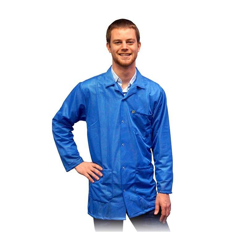"ESD-Safe Light Weight Jacket, Light Blue, 4X-Large, 31-1/2"" Long"