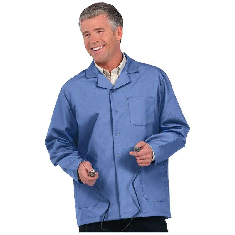 "Microstat ESD-Safe Heavy Weight Unisex 30"" Short Lab Coat, Silica Blue, Large"